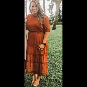 Lulu's Dreaming if You Midi dress burnt orange NWT
